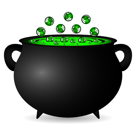 cast iron: cauldron witches potion for Halloween Vectores