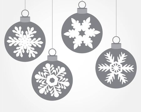 christmas snowflakes: Set of Christmas balls decorated with snowflakes Illustration