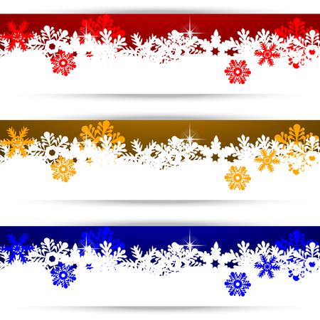 flocon de neige: Bannières de Noël avec des flocons de neige