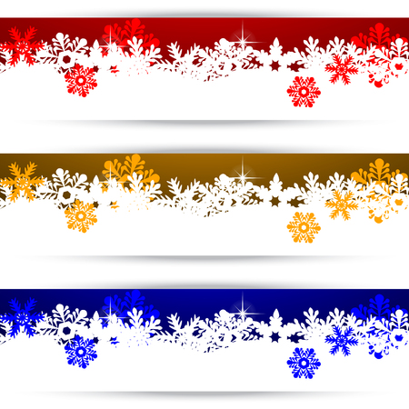 golden border: Christmas banners with snowflakes