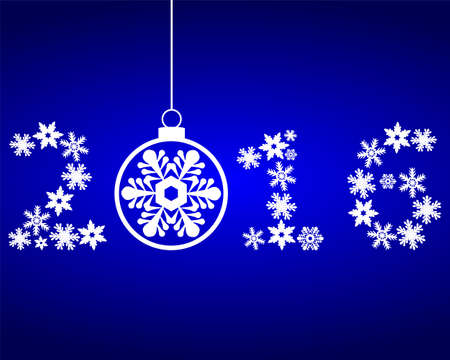 star clipart: New Year 2016 with snowflakes on a blue background
