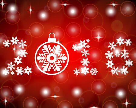 numbers abstract: New Year 2016 with snowflakes on a red background Illustration