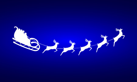 reindeer: Santa Claus rides in a sleigh in harness on the reindeer Illustration