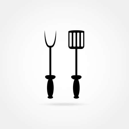 barbecue stove: spade and fork for grill icon