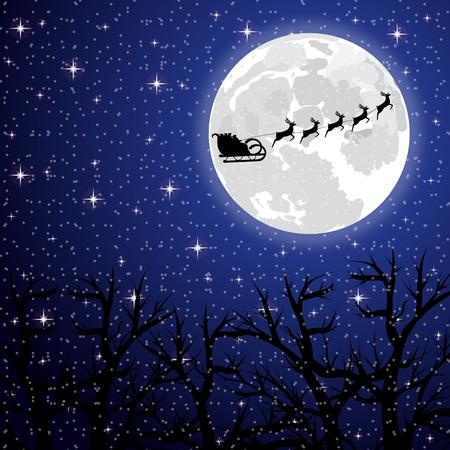 mond: Weihnachtsmann-Reiten auf einem Rentier auf dem Hintergrund des Vollmondes im Wald