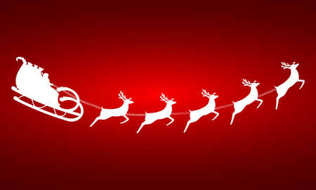 toy sack: Santa Claus rides in a sleigh in harness on the reindeer Illustration