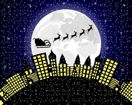 Santa Claus flies reindeer in harness over night city Illustration