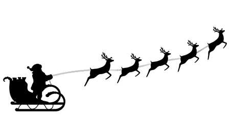 Santa Claus rides in a sleigh in harness on the reindeer Ilustração