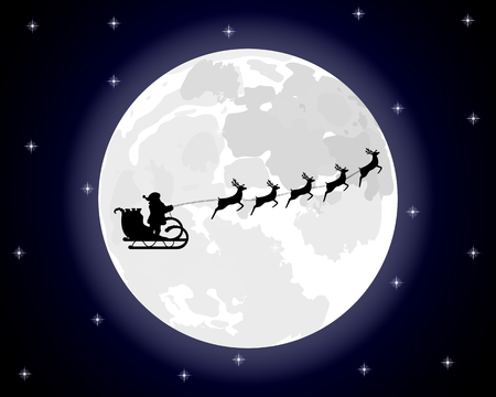 toy sack: Santa Claus riding on a reindeer on a background of the full moon Illustration