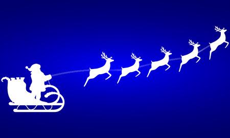 papa noel en trineo: Paseos de Pap� Noel en un trineo en arn�s en el reno Vectores