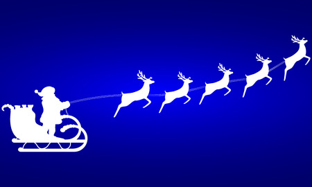 blue santa: Santa Claus rides in a sleigh in harness on the reindeer Illustration