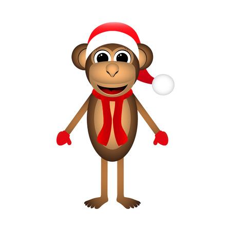 copycat: Christmas monkey on a white background