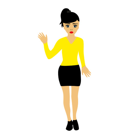 miniskirt: young girl on a white background Illustration