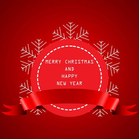 year greetings: round banner with the red ribbon with Happy New Year and Merry Christmas