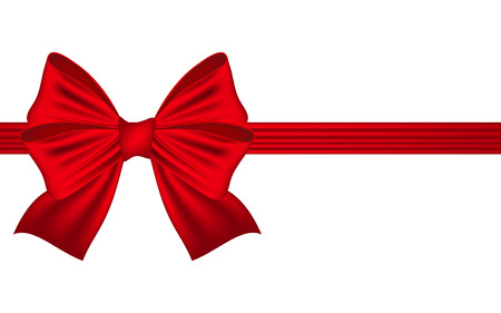 bow: Template greeting card with a red bow