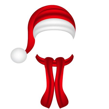 cappelli: sciarpa e cappello di Babbo Natale Vettoriali