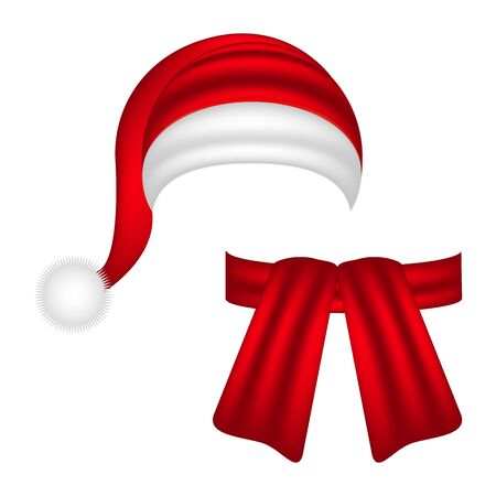 caps: bufanda y el sombrero de Santa Claus Vectores
