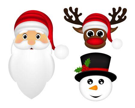 claus: Santa Claus, a reindeer and a snowman