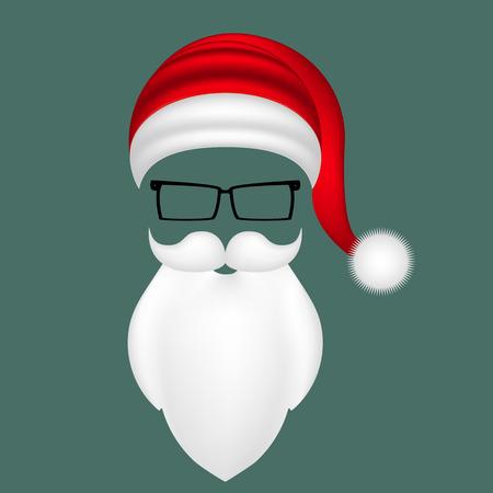 Santa hat, mustache, beard and glasses