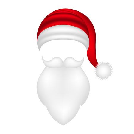 サンタ帽子、口ひげとあごひげ