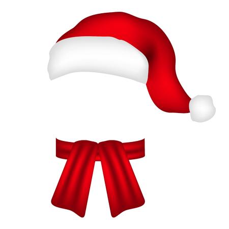 kapelusze: szalik i czapka Świętego Mikołaja Ilustracja