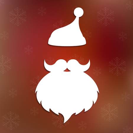 clothes cartoon: Santa hat, mustache and beard