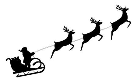 pere noel: Père Noël monte dans un traîneau dans le harnais sur le renne
