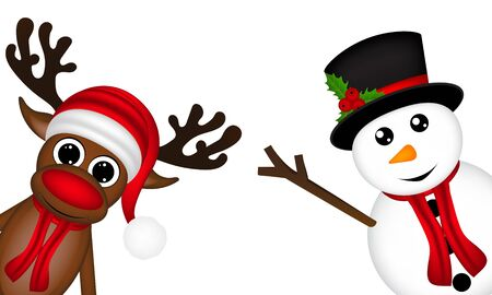 funny animals: reindeer and a snowman on the side of a white background