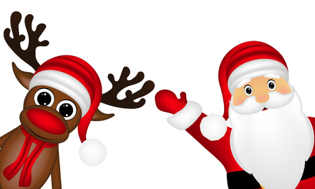 new yea: Reindeer and Santa Claus on the side of a white background
