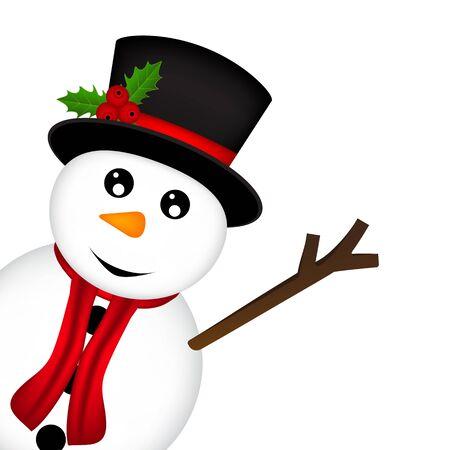 zanahoria caricatura: Christmas Snowman on white background