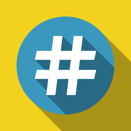 numbers: hashtag symbol flat design with shadow