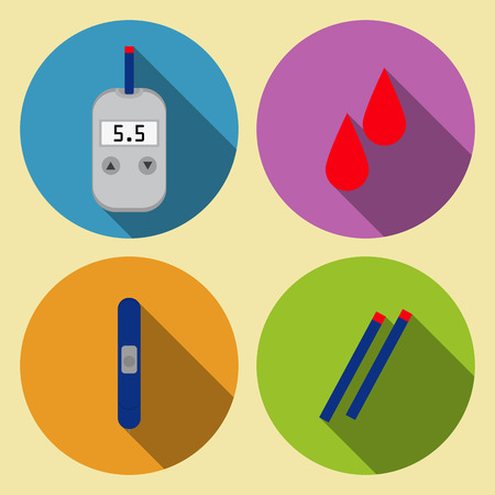 glucose: set of tools for monitoring blood glucose meter blood sugar flat design