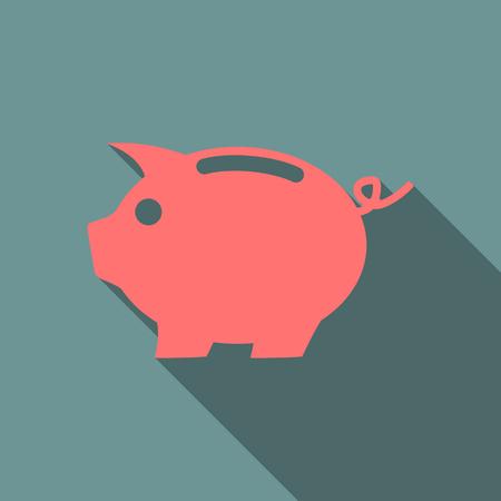 banco dinero: hucha de cerdo rosa icono plana