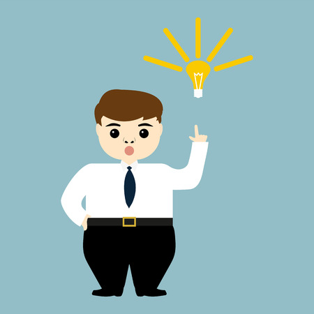 discontent: young businessman showing the idea of a light bulb