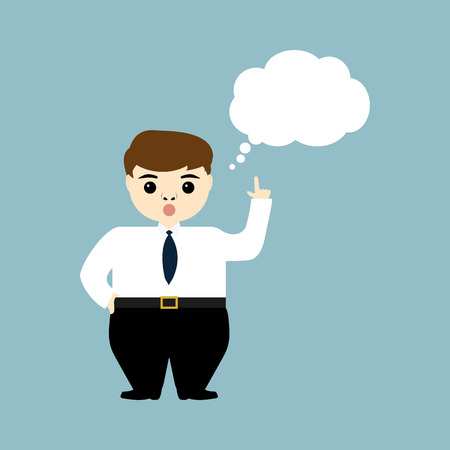 discontent: young businessman showing thumb up and thinks aloud