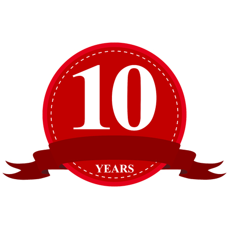 10 years: medal ribbon anniversary of 10 years Illustration