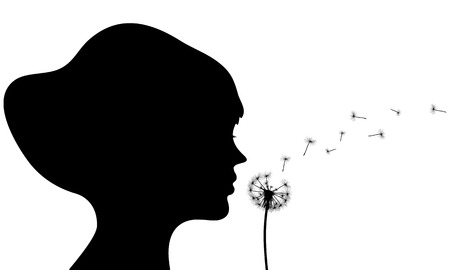 posterity: girl blowing dandelion silhouette