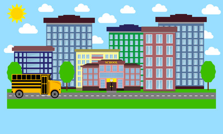 corporate building: Urban Landscape flat design Illustration