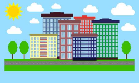 city live: Urban Landscape flat design Illustration
