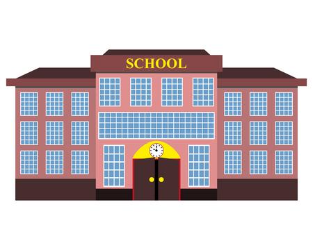 modern school building flat design  イラスト・ベクター素材