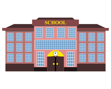 nursery school: modern school building flat design Illustration