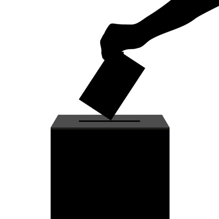 polling place: Hand casts ballot in the ballot box in elections silhouette Illustration