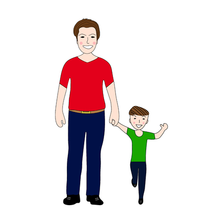 dad son: Happy dad holding baby son by the hand