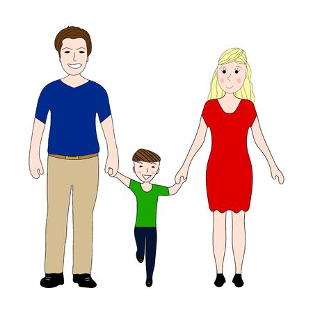 little boy and girl: happy family with little son Mom and Dad on a white background