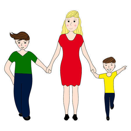 family fun: Mother holding the hand of his two sons