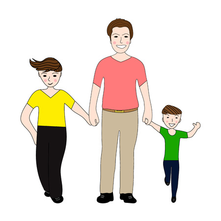 Happy dad holding small and large arm sons
