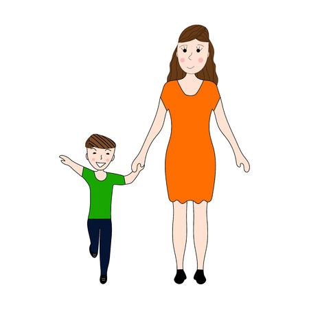 nene y nena: La mama detiene la mano de su hijo