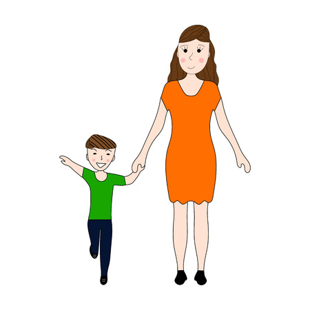 boy lady: Mom holds her sons hand Illustration