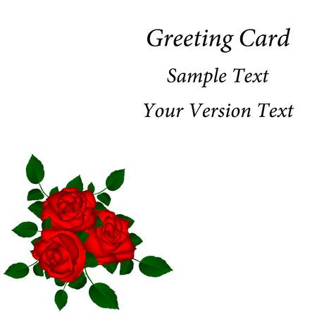 Tarjeta de felicitación con rosas rojas ilustración vectorial