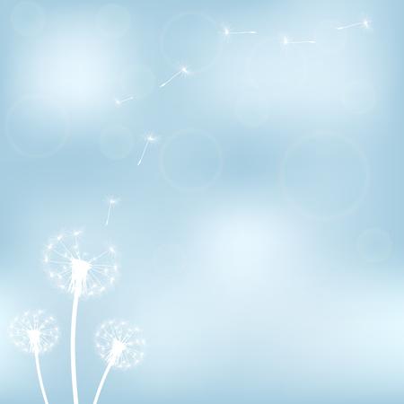 decode: silhouette with flying dandelion buds vector illustration Illustration